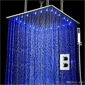 """Led Thermostatic Shower Set 20"""" Embedded Box Ceiling LED Shower Head Rainfall 3 Jets Concealed SUS304 Stainless steel Brushed Finished"""
