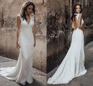 Simple Backless Strap Sexy Mermaid V Neck Wedding Dress Boho Dubai Arabic Bridal Dresses Abiti Da Sposa Vestidos De Fiesta De Noche