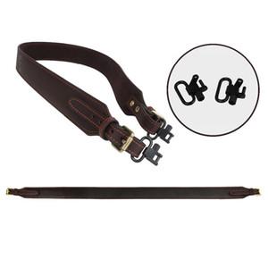 Tourbon Tactical Hunting Rifle Shotgun Sling Gun Genuine Leather Belt Strap w Swivels Adjustable Length Gun Accessories(1 SET)