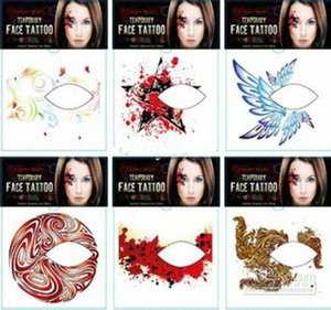 Wholesale New Fashion Rocking Face & Body Tattoo Sticker Temporary Tattoos Eye Shadow Stickers Barcode Temporary Tattoo Black Temporar I4bJ#