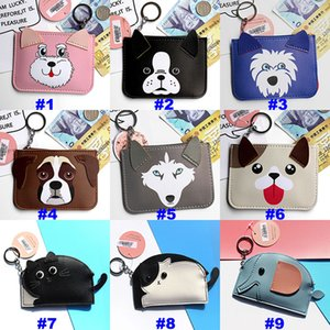 Party Favor Puppy Ear Cartoon Card Holder With Hanging Keychain Credit Card Coin Purse Holders Party Gift 13 Color HH7-830