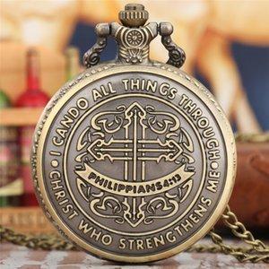 Bronze Bible Philippians 4:13 Jesus Christ Christian Quartz Pocket Watch Necklace Chain Gifts for Men Women
