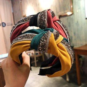 Dvacaman 2020 Sequin Patchwork Headband Orange Hairbands for Women Color Block Hair Hoop Accessories Bowknot Cross Tie Wide Side