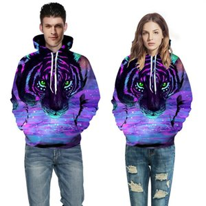 European and American fashion men's tiger head digital printed sweater round neck Pullover large size loose hooded sweater for men