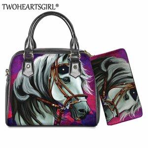 Twoheartsgirl 2Pcs / Set White Horse Borse a tracolla signore Crazy Horse Body Bag Stampe traversa della borsa per le donne Piccolo Messenger Bag
