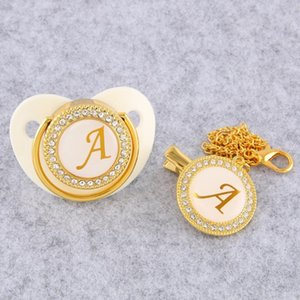 Golden Initial Letter Baby Pacifier With Chain Clip Luxury Sucette BPA Free White Chupete For 0-18 Months