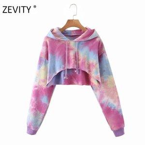 Zevity Yeni Kadın bağbozumu kravat şık kazak H351 başında gündelik kısa kapüşonlu Sweatershirts bayanlar eğlence hoodies kırpılmış baskı boyalı