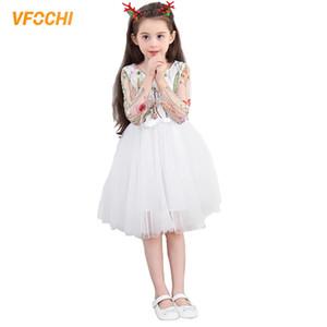 VFOCHI nueva chica Princesas Vestidos veraniegos adolescente, las niñas ropa elegantes vestidos de los cabritos del bebé de la muchacha del tutú 3-12Y de encaje