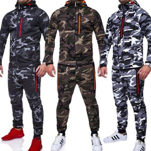 Men Track Suit Nice Camouflage Jacket Suit Camo Print Tracksuit Men Matching Sets Sportswear Hoodie Coat Pants Sweatsuit For Men T200709