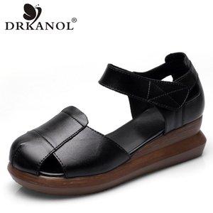 DRKANOL Mode Chaussures d'été Femmes Sandales 2020 cuir véritable bout rond Wedges Sandales Femme épais plate-forme inférieure