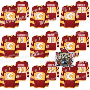 2011 Calgary Flames Warm Up Jerseys Heritage clássico Matthew Tkachuk Johnny Gaudreau Sean Monahan Elias Lindholm Giordano Mikael Backlund