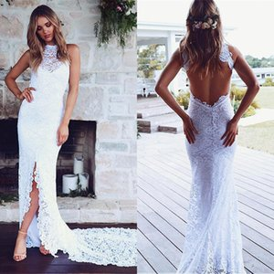 BacklakeGirls Sexy Halter Sleeveless Lace Long Evening Dress For Wedding Evening Formal Party Robe De Soiree Longue Mariage Y190710