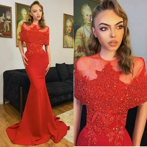 New Fashion Red Mermaid Evening Dresses Sheer Jewel Neck Sequins Beading Prom Gowns Runway Fashion Red Carpet Party Dress