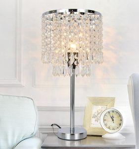 Crystal Lámparas de mesa de plata de noche Mesilla de noche lámpara de escritorio cortina de lámpara de la astilla de Oro para sala de estar dormitorio decorativo comedor Cocina