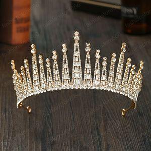 Trendy Handmade Crystal Champagne Gold Color Crown Tiaras Headband Delicate Pattern Bride Headwear Headpeice Hair Accessories