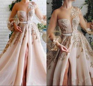 2020 New Side Split Prom Dresses Tulle Appliqued Beads Jewel Neck A Line Long Sleeve Evening Dress Floor Length Custom Made Formal Gowns