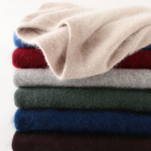 100% Mink Cashmere Sweater Homens 2020 Autumn Winter Classic Simples Básico quentes capuz Sweter Jumper Vestuário para homem Puxe Homme Hiver