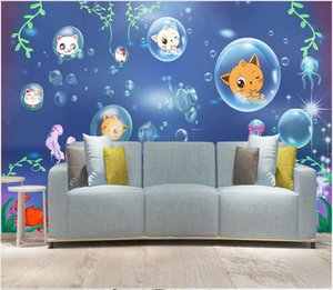 3d wall paper wall sticker custom photo Cartoon will paint cat background murals for children Decoration Home interior wall paper 3 d