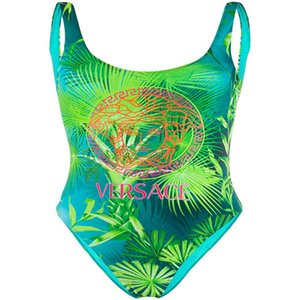 Versace señora Swimsuit malla floral blanco del bikini de la medusa de baño bikini traje de baño de las mujeres ropa de playa verano
