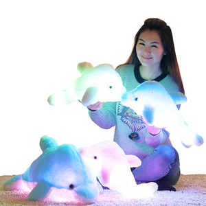 Luminous Plush Dolphin Doll Glowing Pillow Cushion LED Light Animal Toys Colorful Kids Children Gift