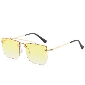 Double Beam Trimmed Square Sunglasses New Double Beam Pilot Glasses Frame Metal Flat Mirror Round Frame Glasses Frame 0 Degree Lens bwkf iBw