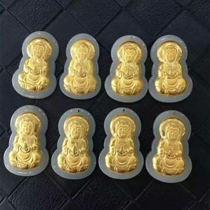 Gold-encrusted jade 4D thick-footed gold inlay and Tian Yuguanyin pendant men's and women's model Guanyin Buddha pendant