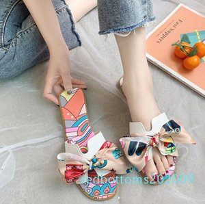 Usual PU H-Sharp Beach Shoes Slippers Female Summer Seaside Non-Slip Soft Rubber Bottom Sandals Ribbon Bow Fashion Flat Slippers r09