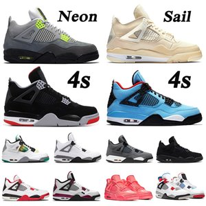 2019 cool grey 4s nike air jordan 4 retro 4 Jumpman New Bred Cool Grey 4s Travis Scott x 4 Cactus Jack IV NEON Purple Raptors FIBA Scarpe da uomo Sneakers da donna 5-13