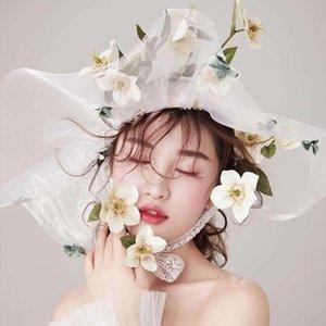 Exaggerated Bridal Hats Wedding Hats Beige Mesh Ladies Lace Flowers Head Accessories Headwear Travel Accessories Mingli Tengda T200620