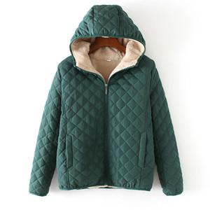Manley Arty Inverno Casual corto in cotone cappotti donne incappucciate Diamanti Partern artificiali pile interno Outwear Femme Slim cappotto