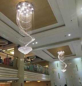Modern led crystal chandelier stairs long crystal ceiling lamp simple circular pendant light pendant light creative living room pendant lamp