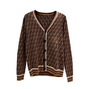 Herbst 2020 Männer Frauen gleiche Pullover europäisch-amerikanische Gezeiten Marke Pullover britischen Stil FF Jacquard-Strickmantel V-Ausschnitt Strickjacke neue Pullover