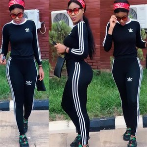 2020SS High quality sports suit long sleeved jacket + long pants 2 pieces fitness suit jogging sportswear Yoga wear
