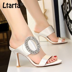 LTARTA Fashion Sexy Banquet high-heeled Metal Large Diamond Buckle Satin Word Female Sandals And Slippers DS-566-1