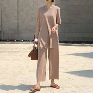 Ice Silk Knitted Two Piece Set Women Casual Long Pullovers Tops and Wide-Leg Pants Suits Split Korean Loose Matching Set B041