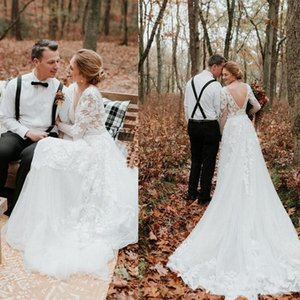 2020 Sexy V Neck Backless A Line Country Wedding DressLong Sleeves See Through Appliques Lace Garden Bridal Gowns Plus Size abiti da sposa