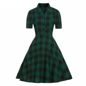 Elegant Pin Up Vintage Green Plaid Dress Women Turn-Down Collar Pocket Side Cotton 50s Tunic Dress Gingham Rockabilly Dresses