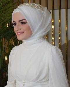 2020 Beautiful Muslim Bridal Veils with Many Beading and Pearls Real Photos Bling Bling Muslim Brides Hijab Shoulder Length Turban