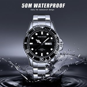 2019 Top Brand WAKNOER Luxury Men's Watch 50m Waterproof Date Clock Male Sports Watches Men Quartz Wrist Watch Relogio Masculino T200723