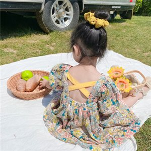2020 Summer New Arrival Girls Fashion Floral Dress Kids Back Cross Dresses T200716