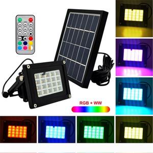 10pcs Uzaktan Kumanda 20LEDs RGBW SMD5050 6V 3W Güneş LED projektör lambası Açık Bahçe Kare Spotlight