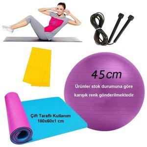 Pilates fitness Set Yoga Mat Ball + + Cuerda de salto de banda de resistencia