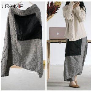 USWMIE 2020 Primavera Mulheres Pants Casual Vintage cintura elástica Plaid Do Antigo Contraste Calças Cor bolso solto Comfort Linho Nona