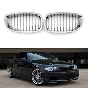 Areyourshop Car Front Fence Grill Grille ABS Chrome Mesh Fit For BMW E46 2D 2002-2007 3 Series Car Auto Accessories Parts
