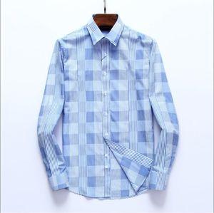 2020 New PL44551 Herbst heiße Verkaufs-Qualität legt einfach, neue plus Größe Hülse lang gestreifte Männer kleiden Shirts Regular Fit Nicht-Eisen leicht c