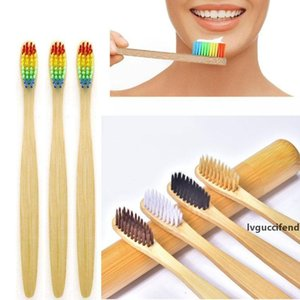 5 Colors Natural Bamboo Toothbrush Biodegradable Environment Wooden Rainbow Nylon Soft Bristle Toothbrush for Kids Men and Women
