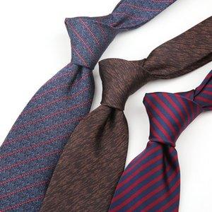 8cm вскользь Галстуки для мужчин Формальное Tie Мода полиэстер Stripe Jacquard Woven Галстук Бизнес Работа Рубашка аксессуары Подарочные Cravate