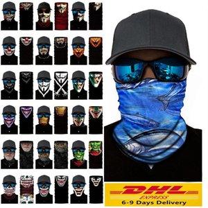 Cosplay vélo ski crâne moitié visage unisexe Halloween masque fantôme écharpe Bandana cou Parti Warmer serre-tête magique Turban FY7140