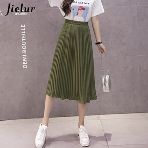 Jielur 6 Colors Korean Fashion Summer Skirt Female Chiffon High Waist Pleated Skirts Womens S-XL Harajuku Faldas Mujer CX200708