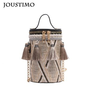 Bags for Women 2020 Straw Knitted Tassels Chain Handbag Shoulder Messenger Bag Casual National Gilrs Child Crossbody Round Purse